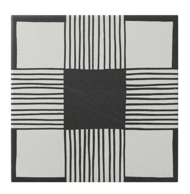 cloth black and white porcelain wall and floor tile 8 x 8 in