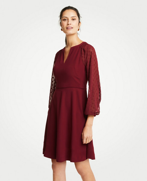 Dresses  Casual  Professional   Party Silhouettes   ANN TAYLOR Chiffon Dot Sleeve Flare Dress
