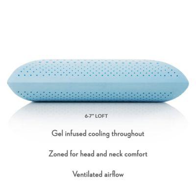 malouf z zoned gel dough mid loft plush queen memory foam pillow in blue