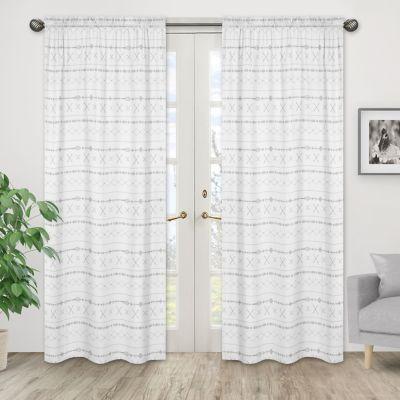 sweet jojo designs boho print 84 inch window curtain panels in grey set of 2