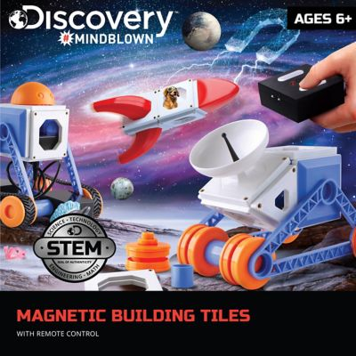 discovery mindblown 34 piece magnetic tiles building set with remote control