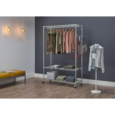 trinity ecostorage 3 tier mobile garment rack in silver