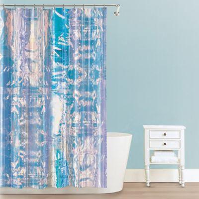 iridescent peva shower curtain bed