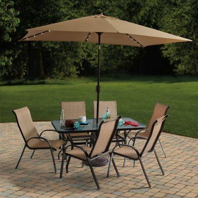 destination summer 11 foot rectangular aluminum solar patio umbrella