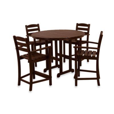 bar height patio table set POLYWOOD® La Casa 5-Piece Outdoor Counter Height Table Set