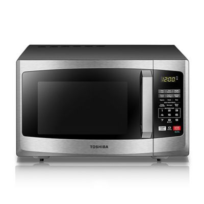 toshiba 0 9 cu ft microwave overn in stainless steel