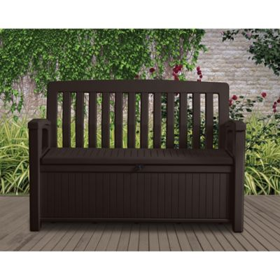 keter 60 gallon patio storage bench in brown