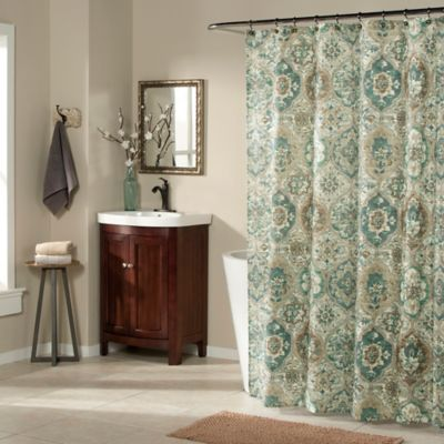 ali baba shower curtain in teal bed