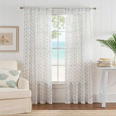 Nautical Anchor Rod Pocket Sheer Window Curtain Panel In