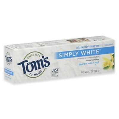 Toms Of Maine 47 Oz Simply White Fluoride Toothpaste In Sweet Mint Gel Bed Bath Amp Beyond