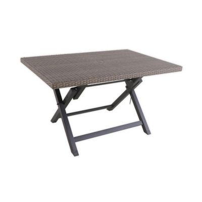 barrington wicker 6 person folding patio table in natural brown