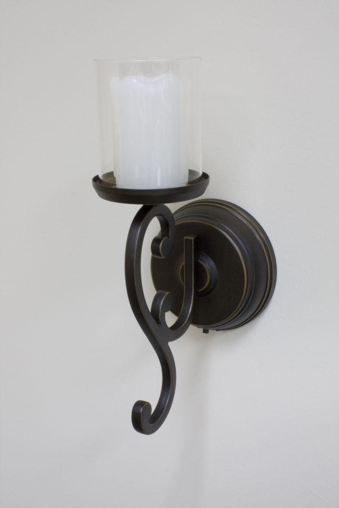 Inglow Battery Operated Flameless Single Candle Wall ... on Battery Powered Wall Sconces id=96178