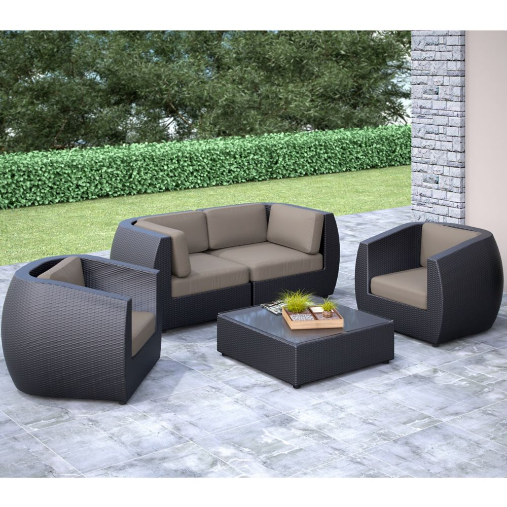 Corliving Seattle Curved 5 Pc Sofa And Chair Patio Set ... on Outdoor Loveseat Sets  id=14172