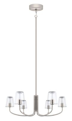Noventa Led Chandelier Light 6l Matte Nickel Finish With Clear White Glass