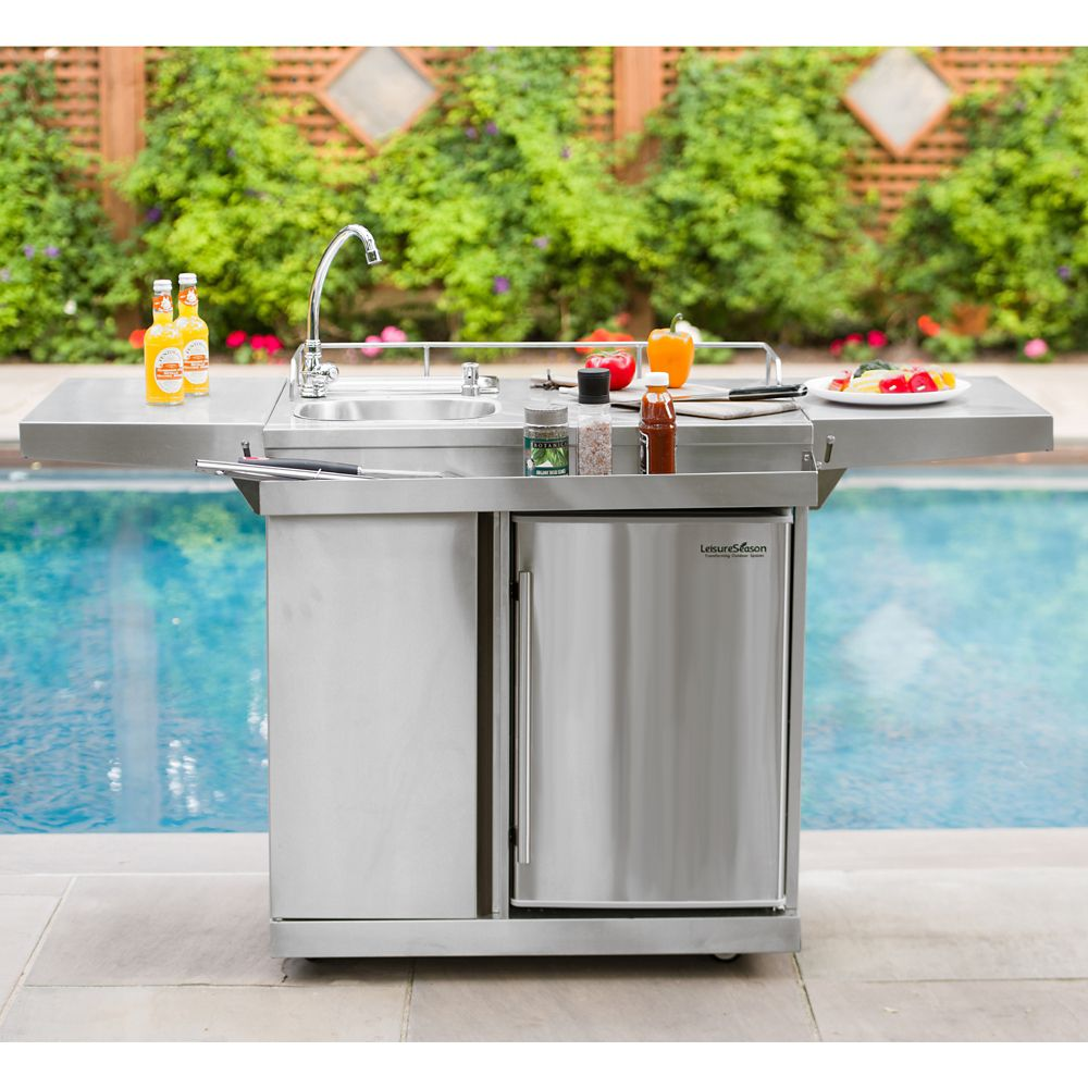 Leisure Season Outdoor Kitchen Cart & Beverage Center With ... on Outdoor Patio Sink id=35705
