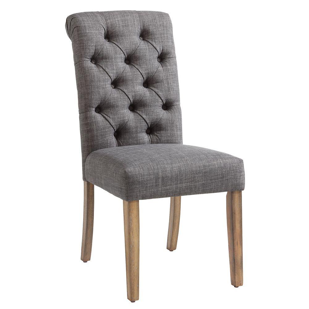 chaise parson sans accoudoirs melia bois gris siege tissu gris ens de