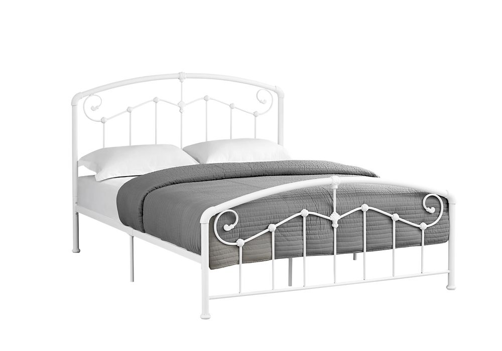 Queen Size White Metal Frame