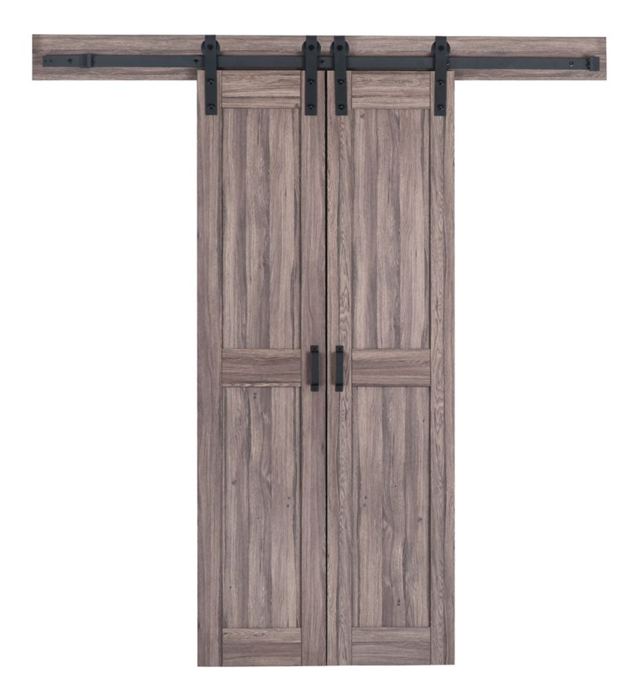 truporte 18 inch x 84 inch taupe gray two panel biparting on Rustic Gray Barn Door id=14729