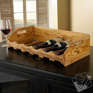Stackable Olivewood Wine Rack
