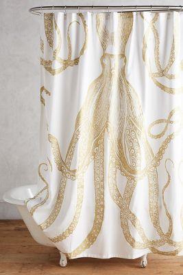 golden octopus shower curtain