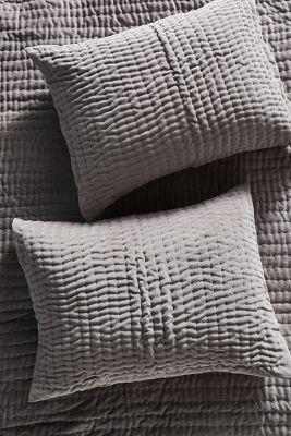 set of 2 kantha stitched velvet pillowcases