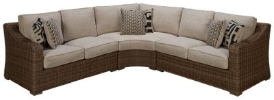 ashley beachcroft outdoor sectional with 6 toss pillows