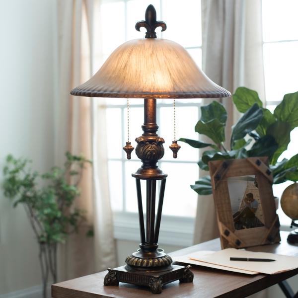Prescott Bronze Glass Table Lamp | Kirklands on Lanterns At Kirklands id=69877