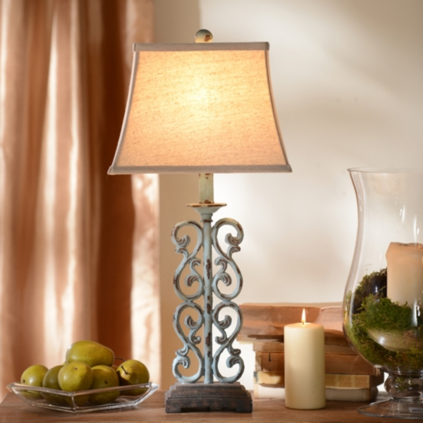 Metal Blue Scroll Table Lamp | Kirklands on Lanterns At Kirklands id=62325