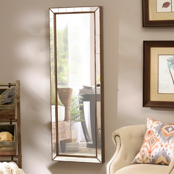 Mirrored Tile Wall Mounted Jewelry Armoire | Kirklands on Floor Mirrors Decorative Kirklands id=78379