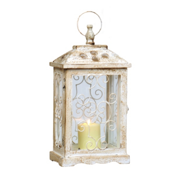 Antique White Wood Lantern | Kirklands on Lanterns At Kirklands id=50879