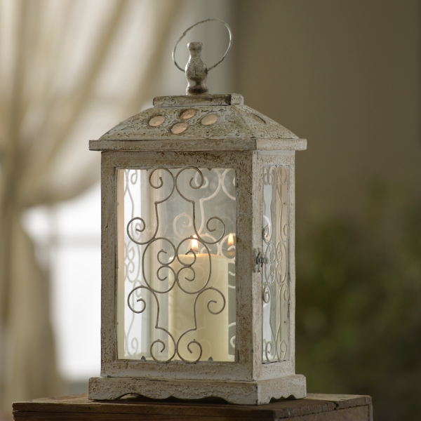 Antique White Wood Lantern | Kirklands on Lanterns At Kirklands id=88016