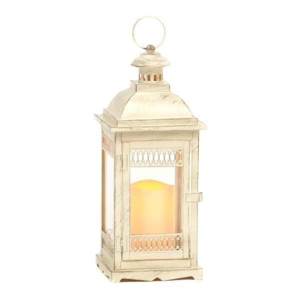Antique Cream LED Lantern | Kirklands on Lanterns At Kirklands id=61898
