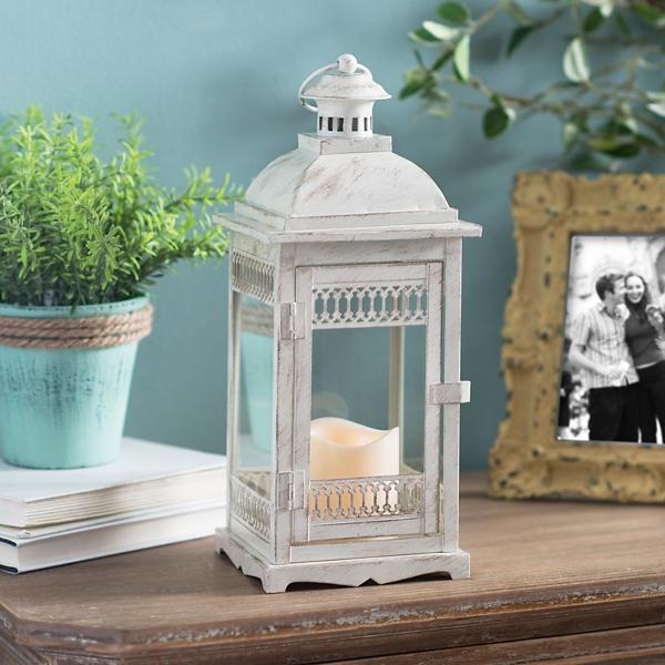 Antique Cream LED Lantern | Kirklands on Lanterns At Kirklands id=45716