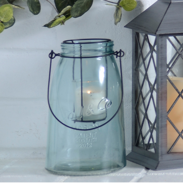 Small Blue Glass Lantern | Kirklands on Lanterns At Kirklands id=75237