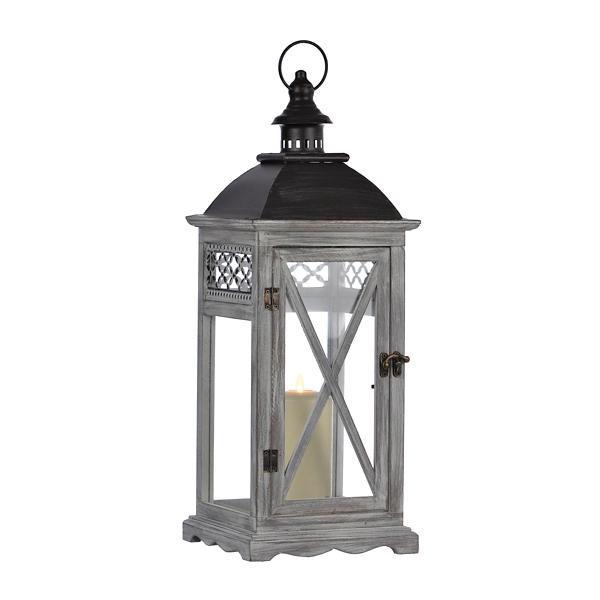 Gray Lattice Wood Lantern | Kirklands on Lanterns At Kirklands id=91214