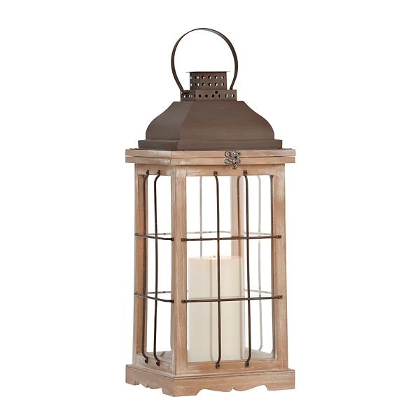 Wood and Metal Cage Lantern | Kirklands on Lanterns At Kirklands id=66849