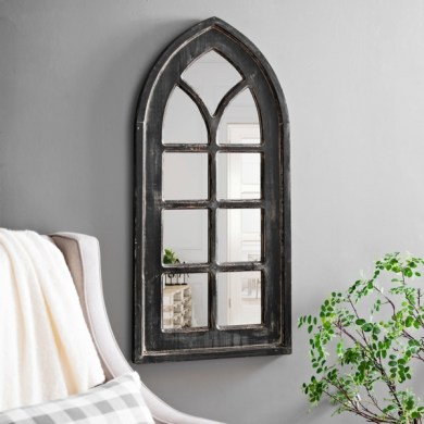 Mirror   Decorative   Framed Mirrors   Kirklands Distressed Black Arch Wall Mirror