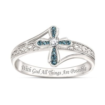 Heavenly Grace Blue Diamond Cross Ring