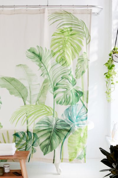 watercolor tropical shower curtain