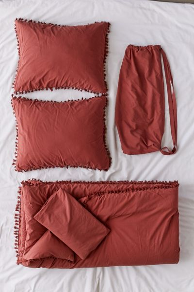 Washed Cotton Tassel Comforter Snooze Set Urban Outfitters