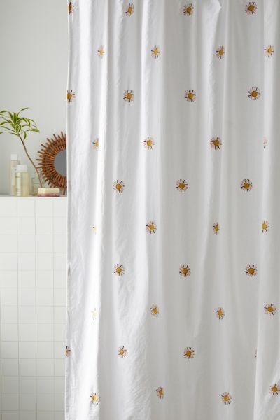 sunny embroidered shower curtain