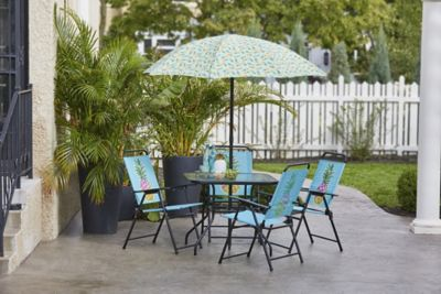 alcove pineapple outdoor patio 6 pc dining set with folding chairs and umbrella