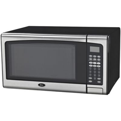 oster 1 3 cu ft 1000 watt countertop microwave oven with stainless steel front