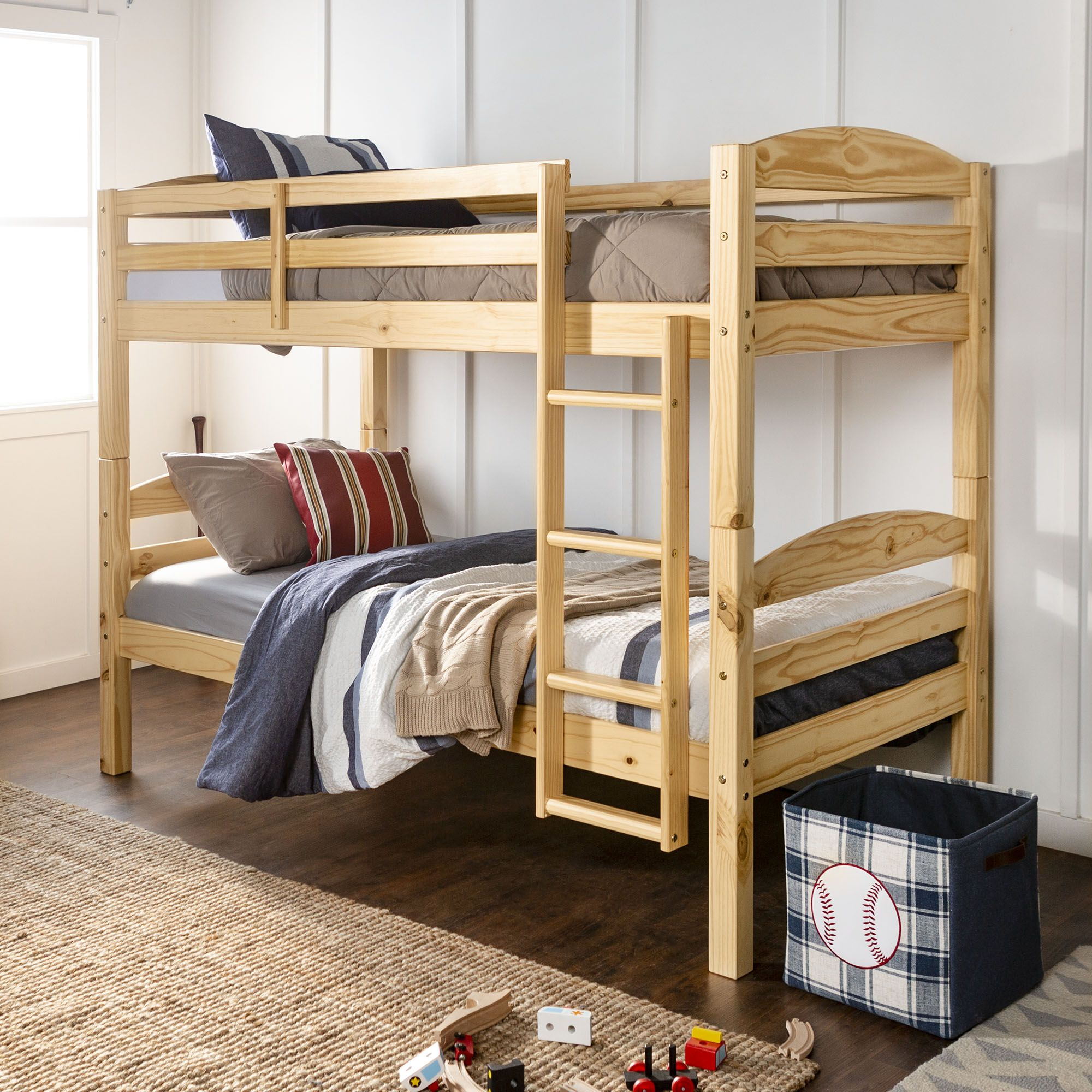 W Trends Twin Twin Size Bunk Bed Natural
