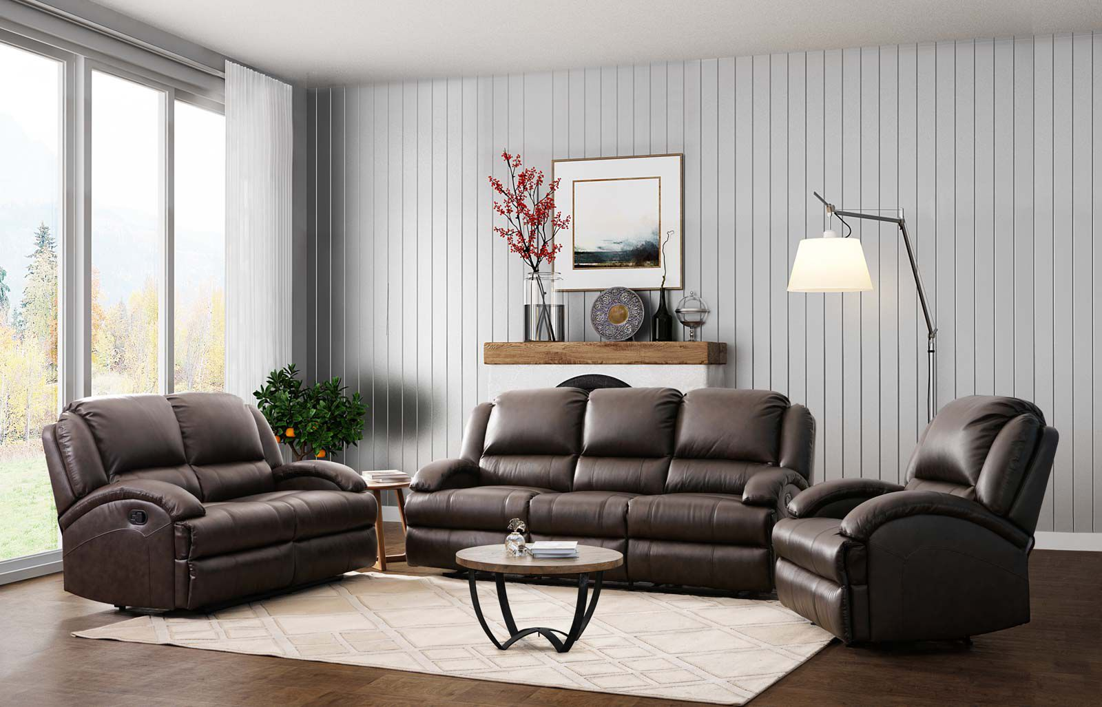 Abbyson Living Giorgio 3 Pc Top Grain Leather Reclining Sofa Set