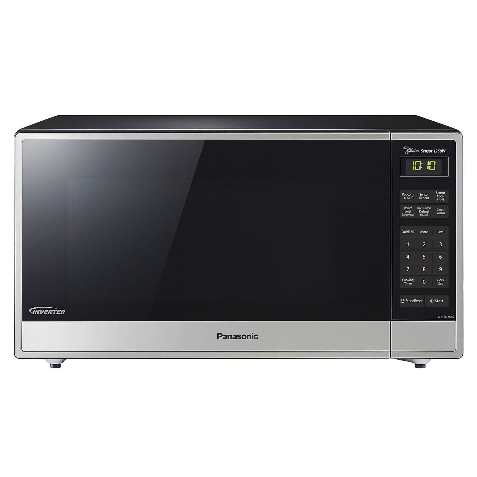 panasonic 1 6 cu ft 1 250w microwave with genius inverter technology stainless steel black