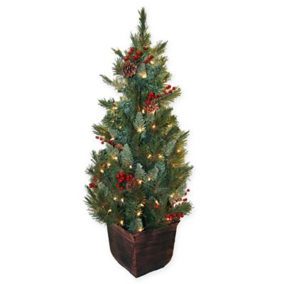 Buy Pre Lit 4 Foot Berry And Pine Cone Entrance Tree With