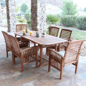 Forest Gate Eagleton Patio Acacia Wood Outdoor Furniture Collection     Forest Gate Eagleton Patio 7 Piece Acacia Wood Dining Set with Beige  Cushions