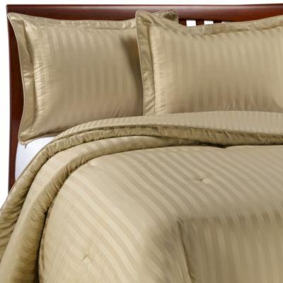 Wamsutta Damask Stripe Wheat Twin Mini Comforter Set Bed Bath Amp Beyond