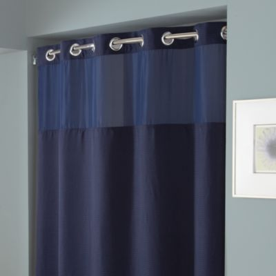 Hookless Waffle 71 Inch X 74 Inch Fabric Shower Curtain In Navy Bed Bath Amp Beyond